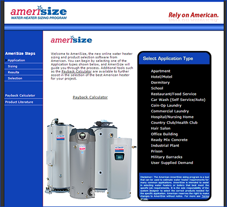 Amerisize Commercial Sizing Program American Water Heaters