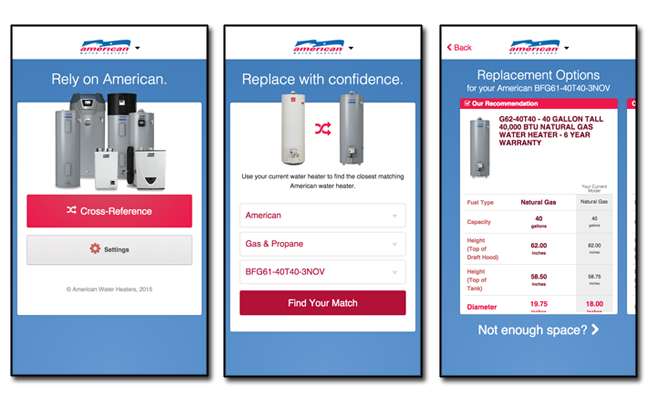American Water Heater Mobile Application Screen